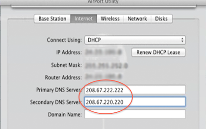 Apple Airport v7 7 8 configuration – OpenDNS